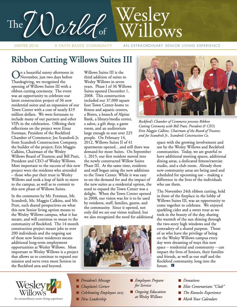 Image of cover of Winter 2016 Newsletter