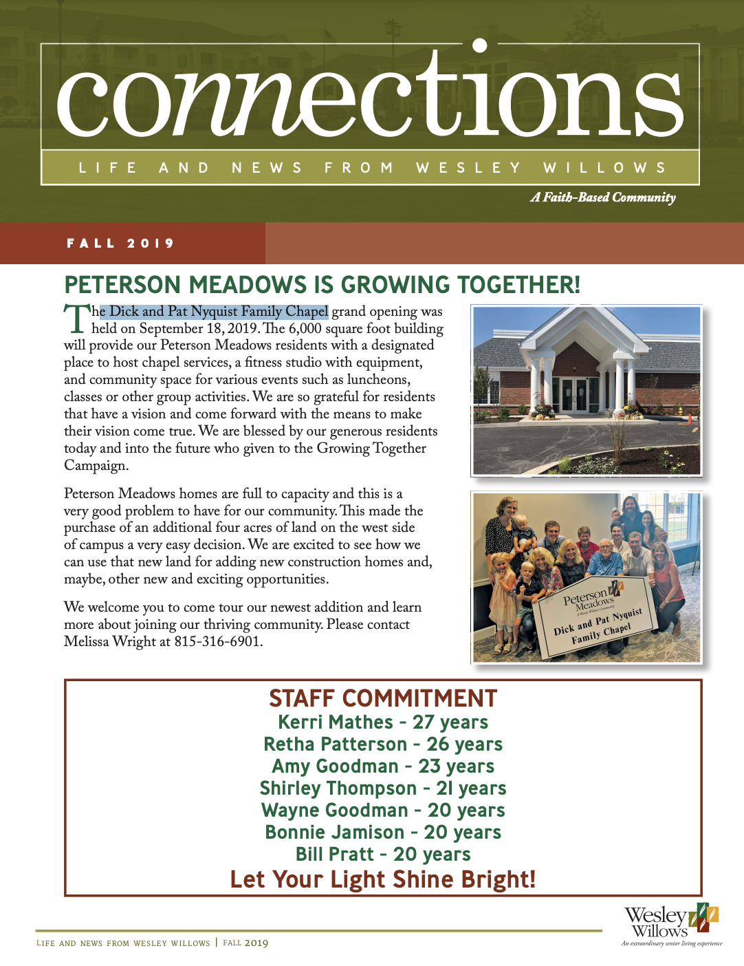 Image of the cover of the Fall 2019 Newsletter